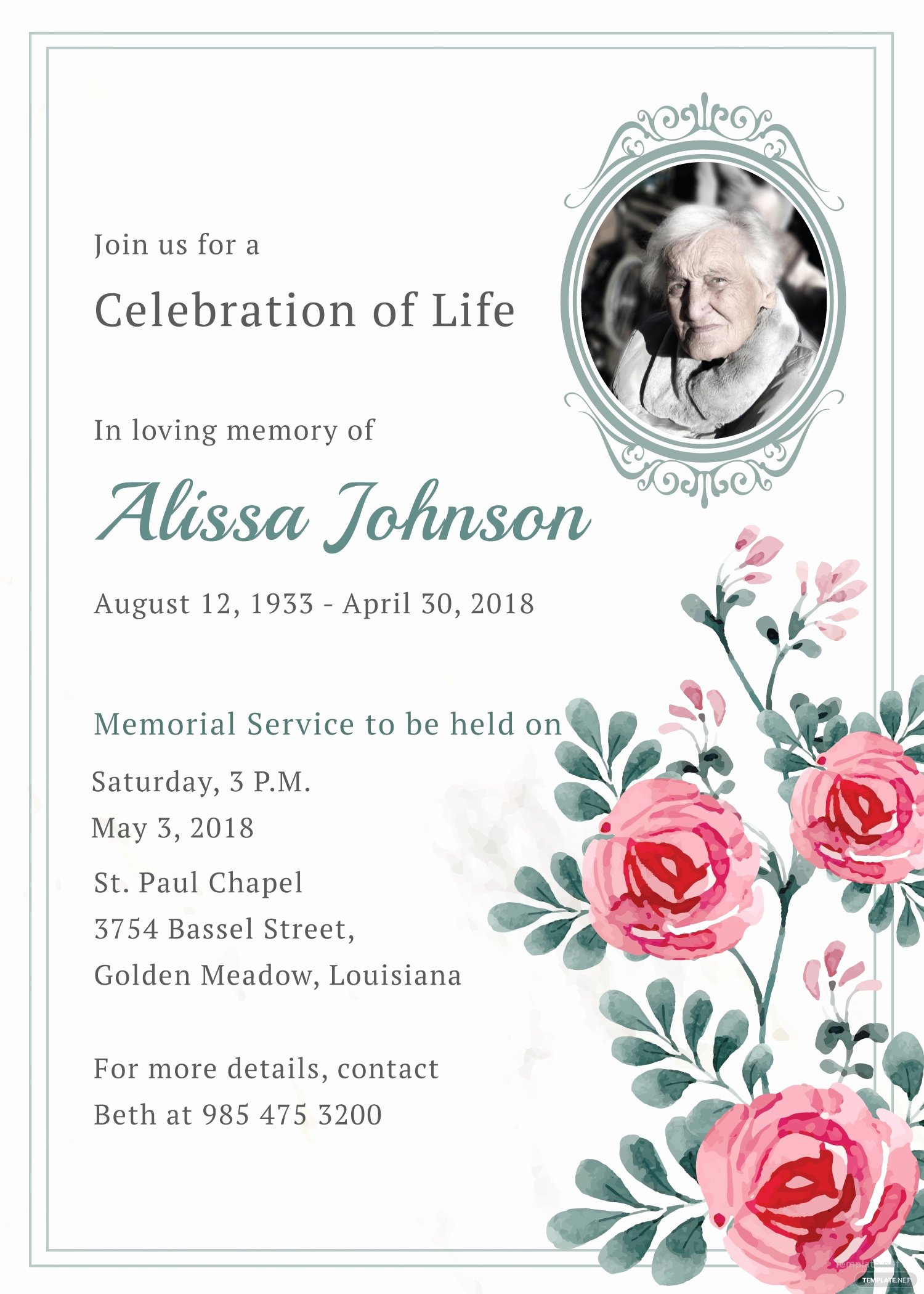 Funeral Invitation Template Free Fresh Memorial Service Invitation Template In Adobe Illustrator