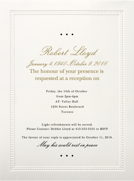 Funeral Invitation Template Free Inspirational 39 Best Funeral Reception Invitations
