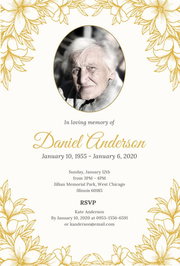 Funeral Invitation Template Free Lovely 27 Funeral Invitation Templates Free Sample Example