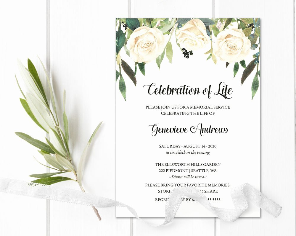 Funeral Invitation Template Free Lovely Celebration Of Life Invitation Template Funeral