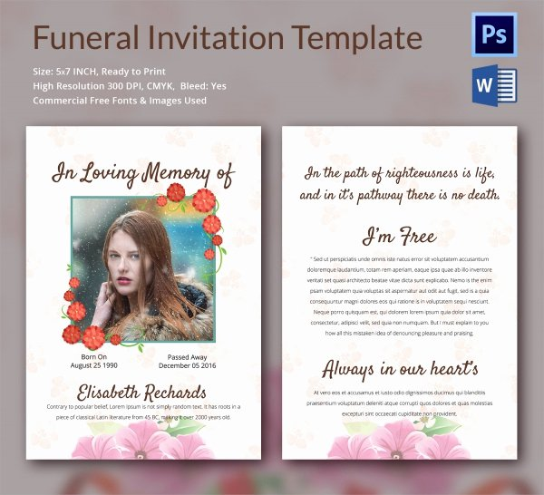 Funeral Invitation Template Free Unique Sample Funeral Invitation Template 11 Documents In Word