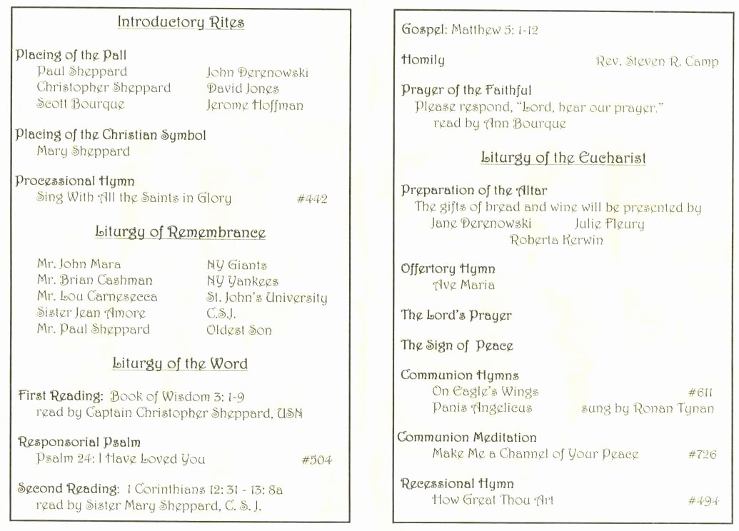Funeral Mass Program Template Best Of Mass Program Template Catholic Funeral Program Template