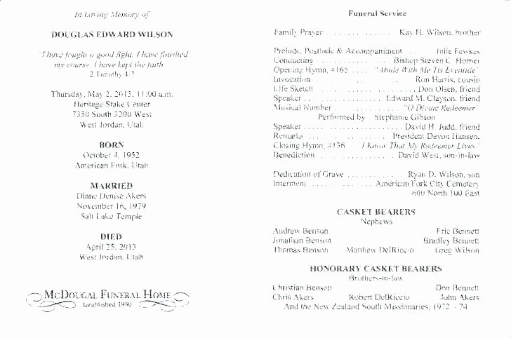 Funeral Mass Program Template Inspirational Catholic Funeral Service Template Free Program Memorial