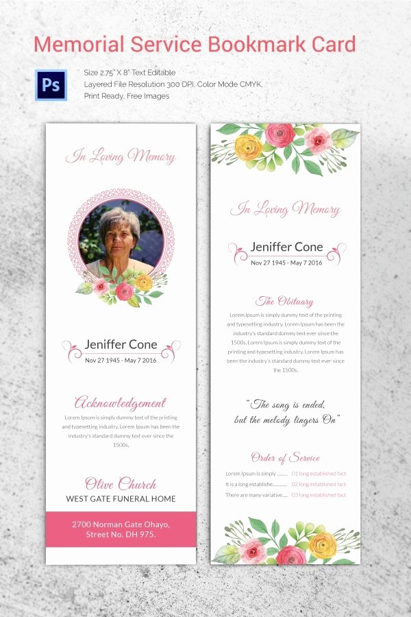 Funeral Memorial Card Template Awesome 20 Funeral Program Templates – Free Word Excel Pdf Psd