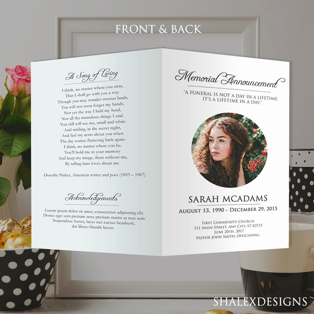 Funeral Memorial Card Template Best Of White Funeral Program Template Shop Psd Instant