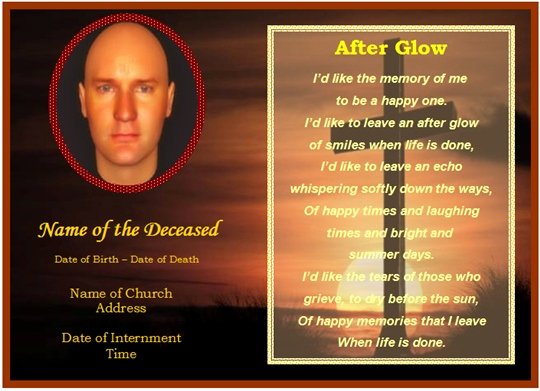 Funeral Memorial Card Template Elegant Example Of Funeral Christian Memorial Card Cross