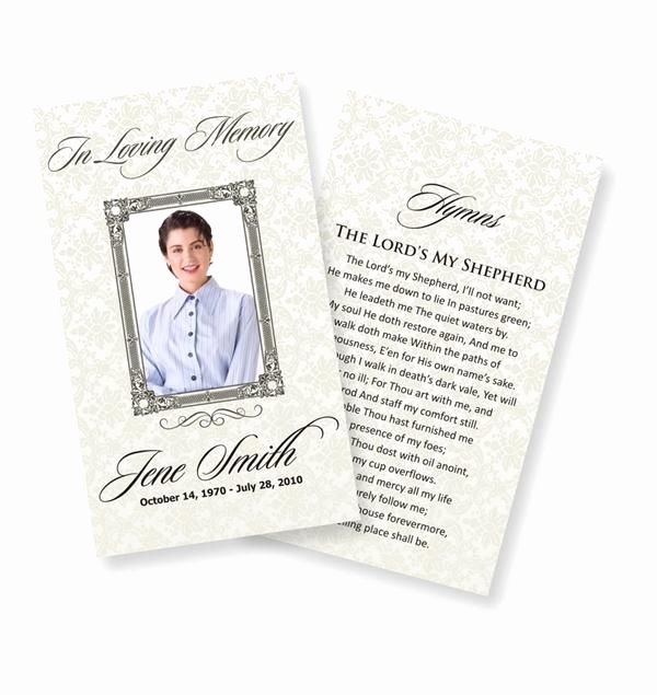 Funeral Memorial Card Template Inspirational Funeral Prayer Cards Examples