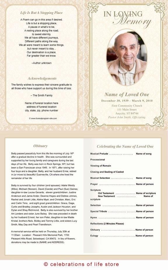 Funeral Memorial Card Template New Alexandria Printable Funeral Program Template