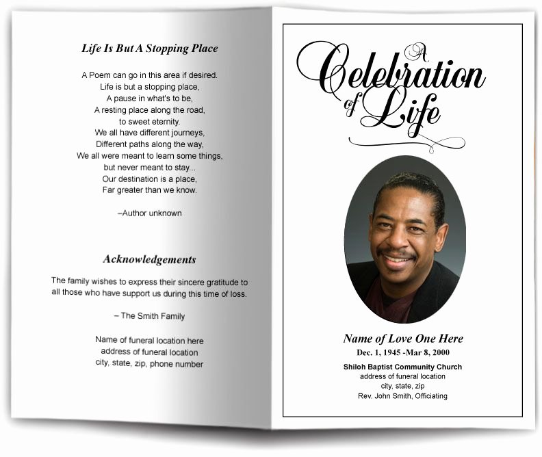 Funeral Memorial Card Template New Funeral Program Obituary Templates