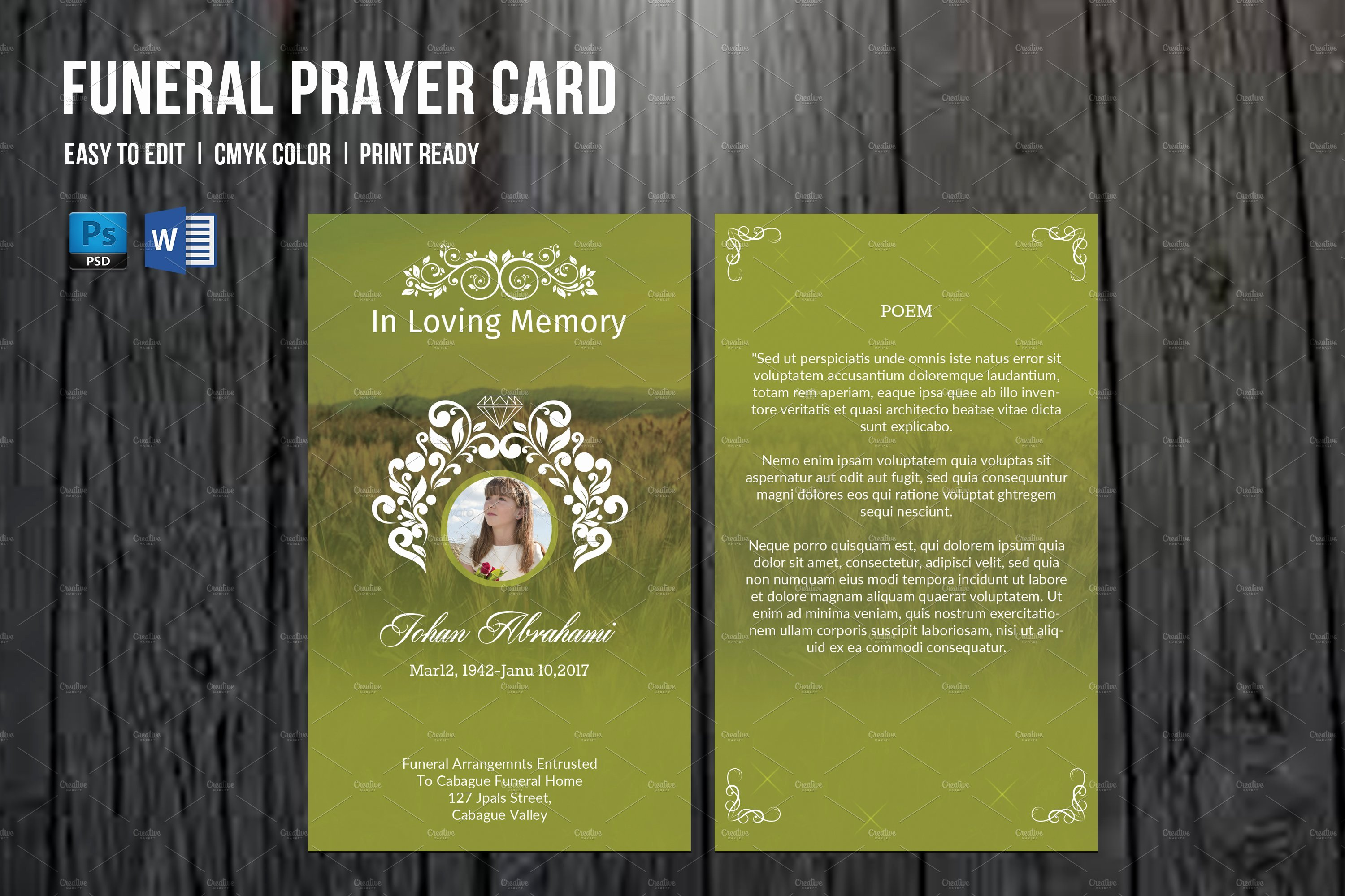 Funeral Prayer Cards Template Awesome Funeral Prayer Card Template V660 Card Templates
