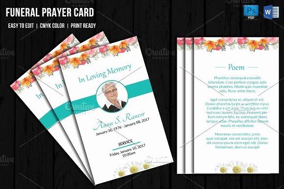 Funeral Prayer Cards Template Inspirational Funeral Prayer Card Template V656 Card Templates On