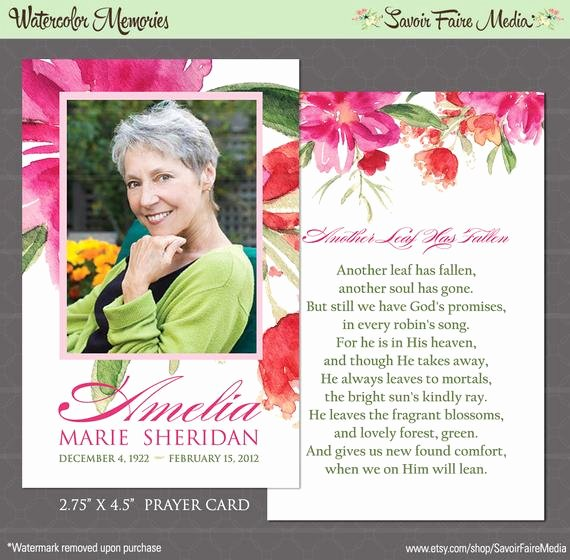 Funeral Prayer Cards Template New Funeral Memorial Prayer Card and Bookmark Printable