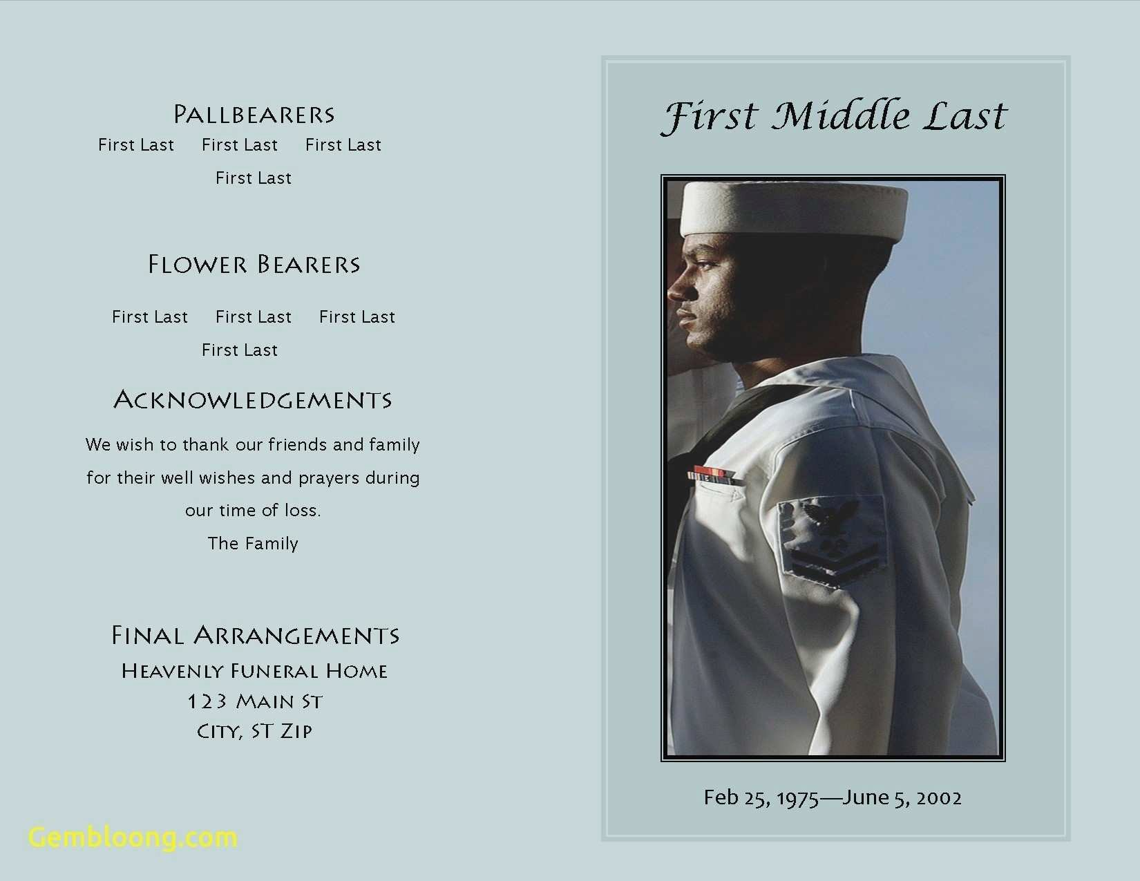 Funeral Program Template Publisher Beautiful Lovely Blank Funeral Program Template