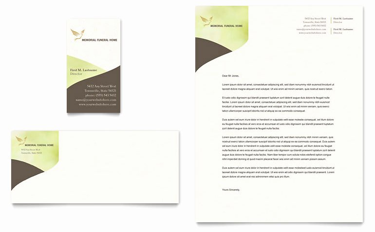 Funeral Program Template Publisher Beautiful Memorial & Funeral Program Business Card & Letterhead