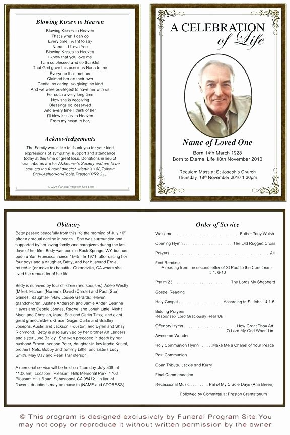 Funeral Program Template Publisher Best Of Funeral Programs Templates Program Template order