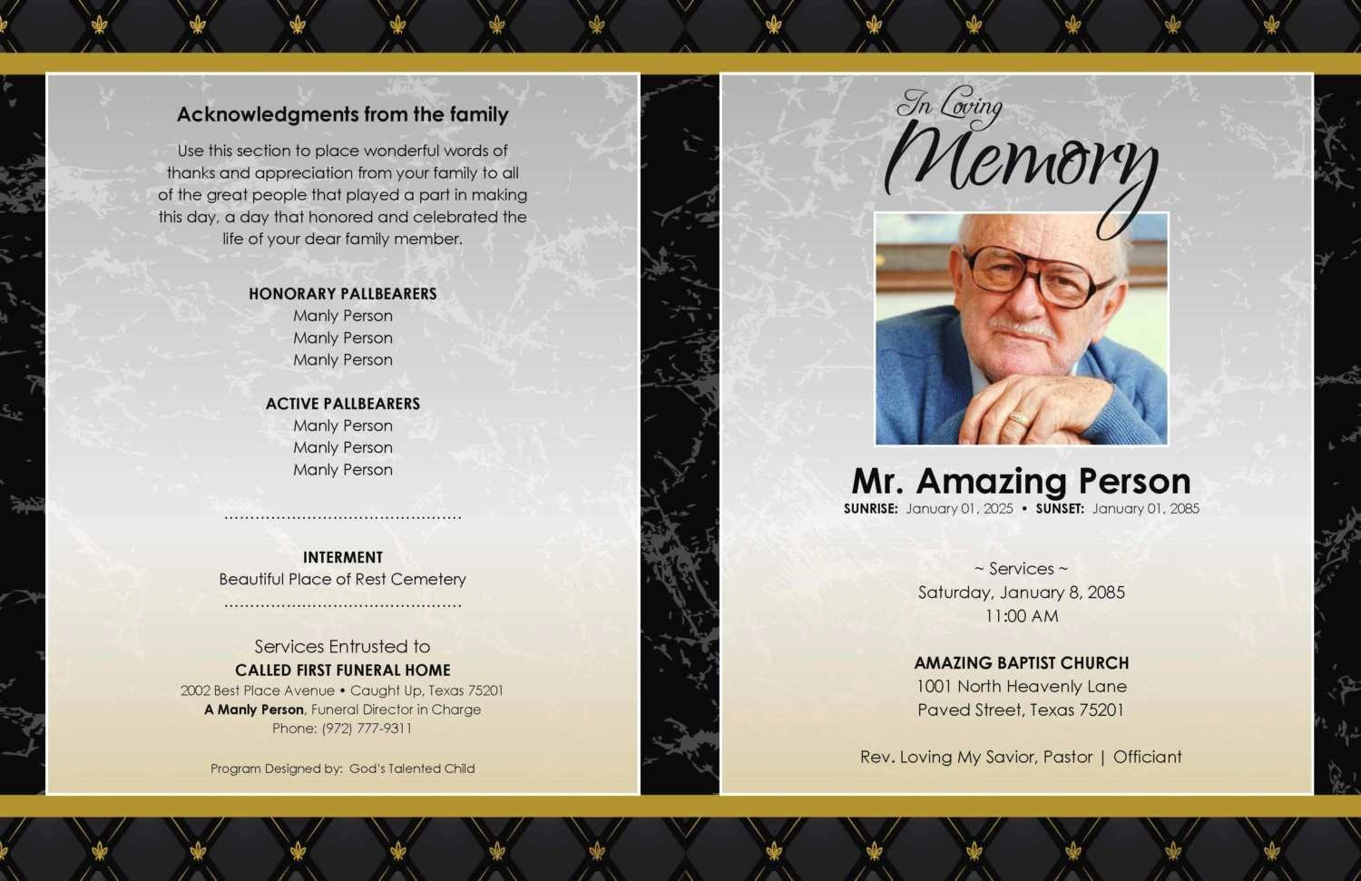 Funeral Program Template Publisher Fresh New Free Funeral Program Template for Microsoft Publisher