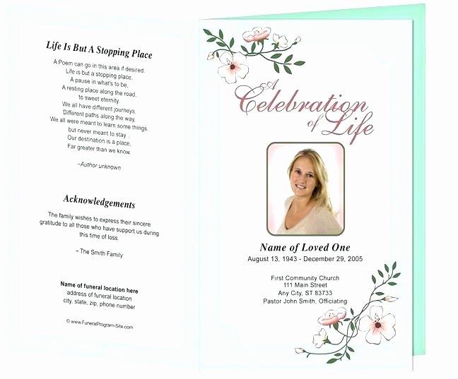 Funeral Program Template Publisher Lovely Printable Funeral Program Templates Template Publisher