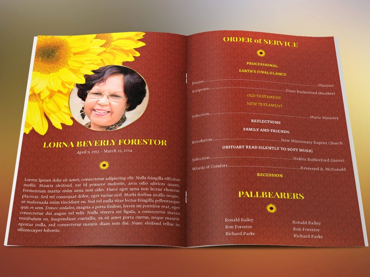 Funeral Program Template Publisher Luxury Sunflower Funeral Program Template Publisher