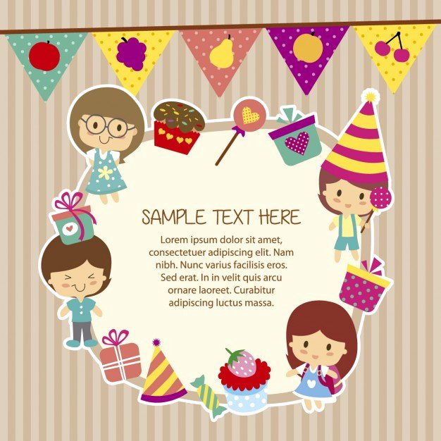 Funny Birthday Card Template Beautiful Birthday Template with Funny Children Vector