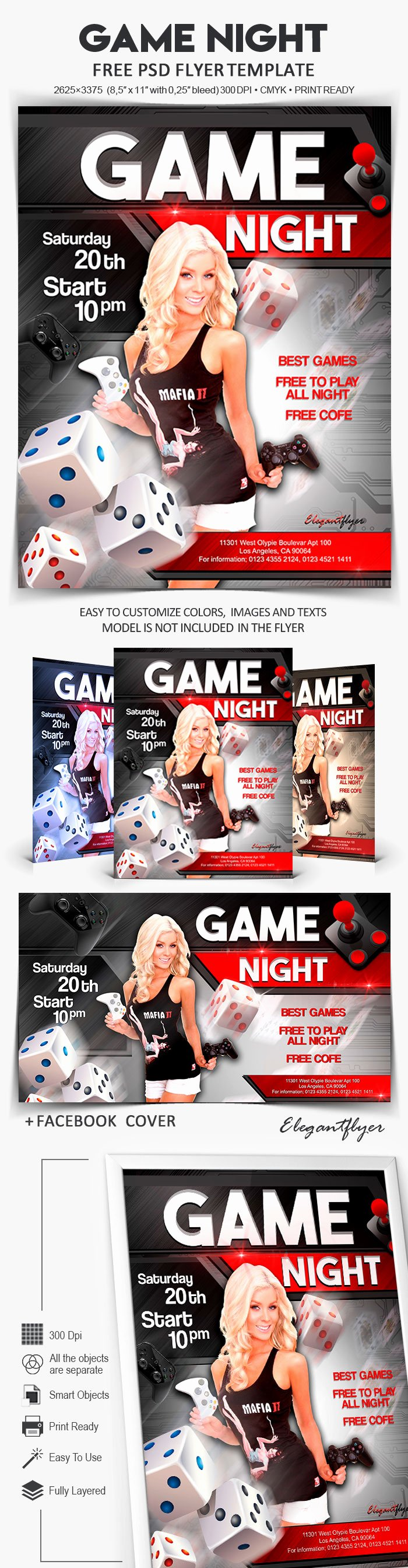 Game Night Flyer Template Awesome Game Night – Free Flyer Psd Template – by Elegantflyer