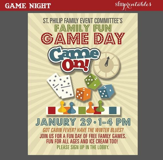 Game Night Flyer Template Best Of Game Night Poster Fun Dice Template Church School Munity