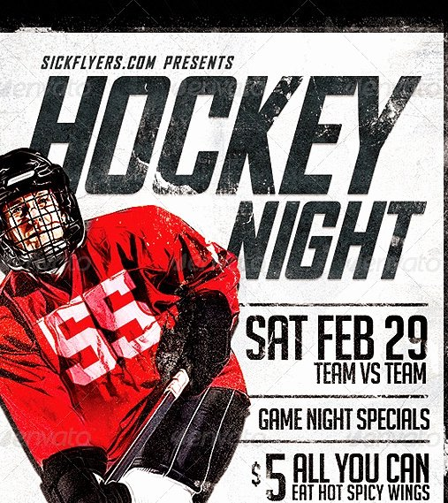 Game Night Flyer Template Elegant 20 Cool Hockey Flyers Templates