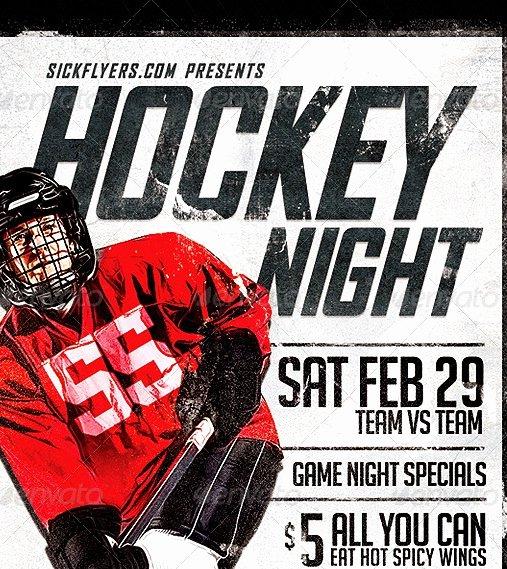 Game Night Flyer Template Elegant 20 Cool Hockey Flyers Templates