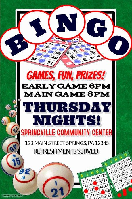 Game Night Flyer Template Inspirational Bingo Template