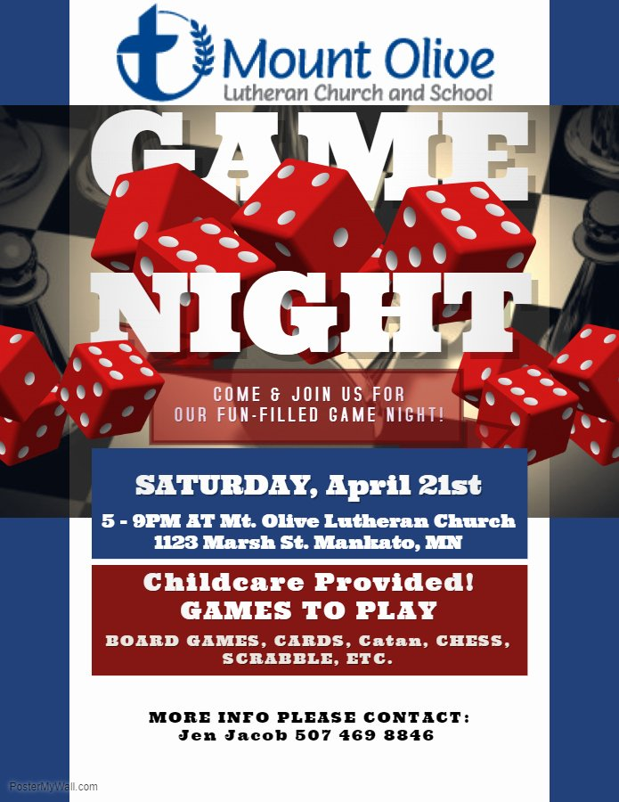 Game Night Flyer Template Inspirational Family Board Game Night