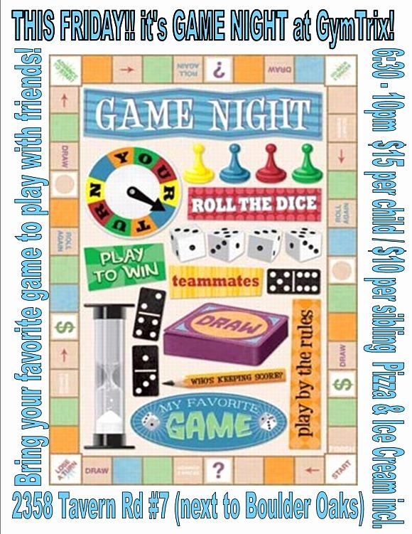Game Night Flyer Template Lovely Game Night Flyer Game Night Party Pinterest