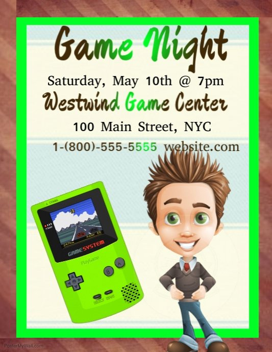 Game Night Flyer Template New Game Night Template