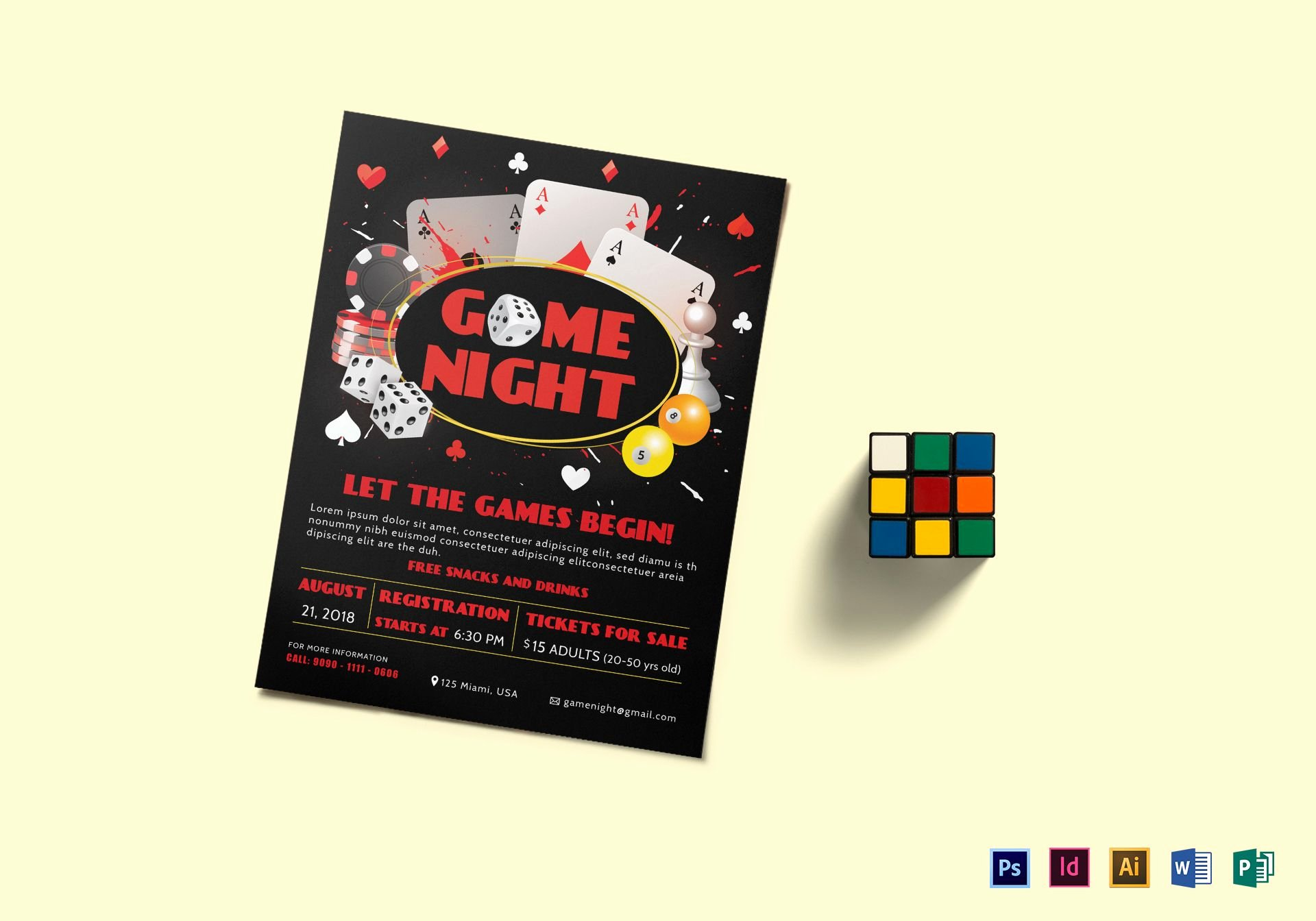 Game Night Flyer Template Unique Game Night Flyer Design Template In Psd Word Publisher