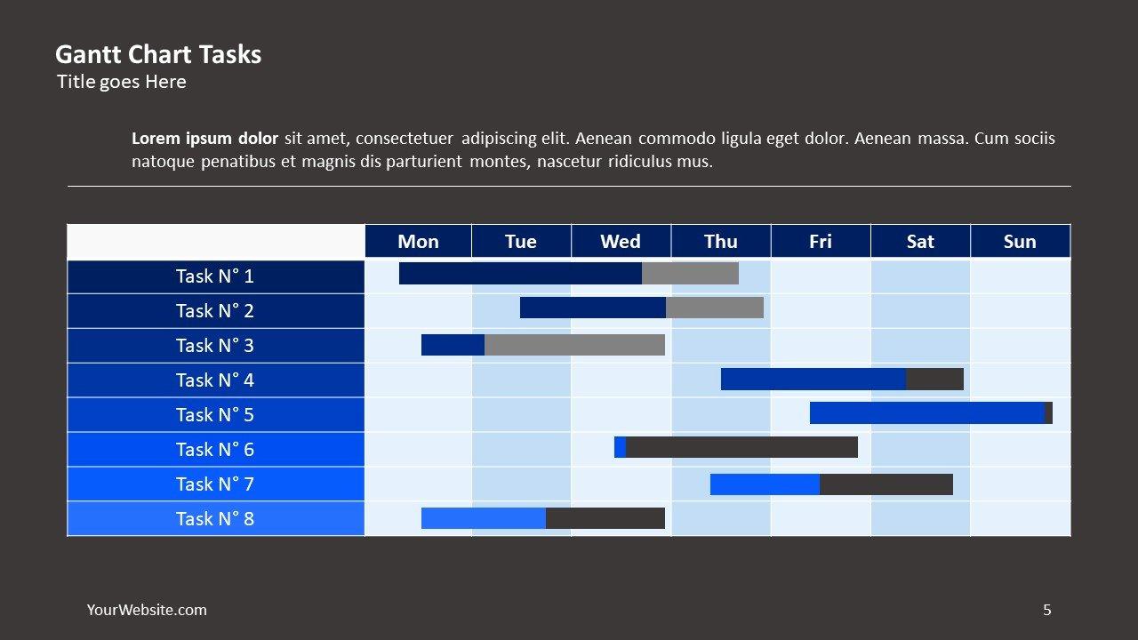 Gantt Chart Powerpoint Template Luxury Gantt Chart Tasks Ppt Slide Ocean