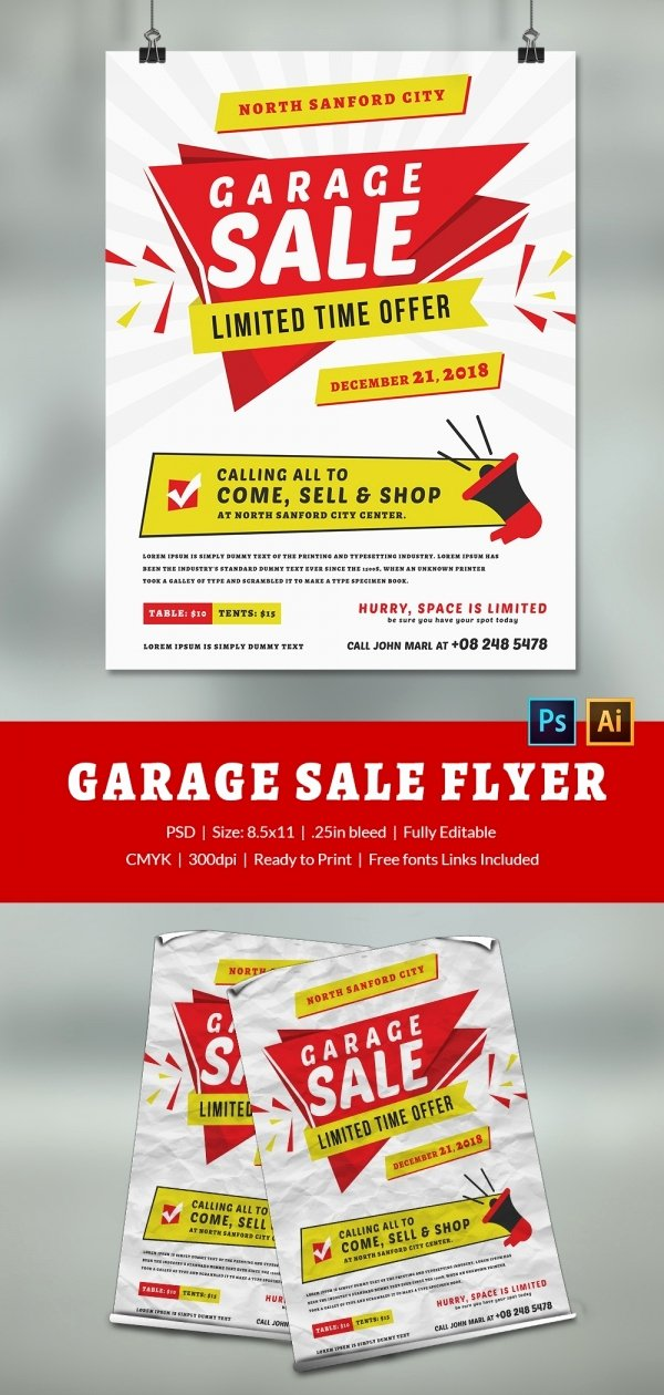 Garage Sale Flyer Template Awesome 14 Best Yard Sale Flyer Templates & Psd Designs