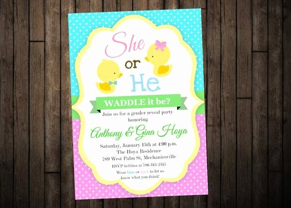 Gender Reveal Invitation Template Awesome Duck Gender Reveal Invitation Digital or Printed