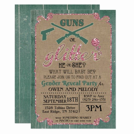 Gender Reveal Invitation Template Awesome Guns or Glitter Gender Reveal Invitation