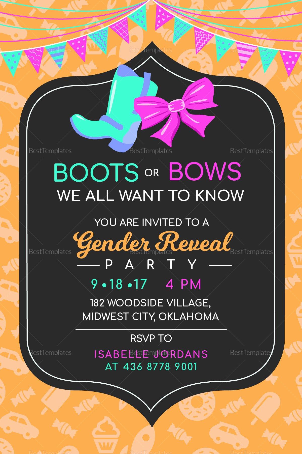 Gender Reveal Invitation Template Inspirational Boots or Bows Gender Reveal Invitation Design Template In