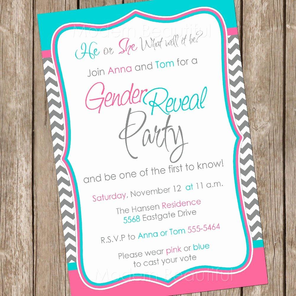 Gender Reveal Invitation Template Lovely Gender Reveal Invitation Baby Reveal Invite by Modernbeautiful