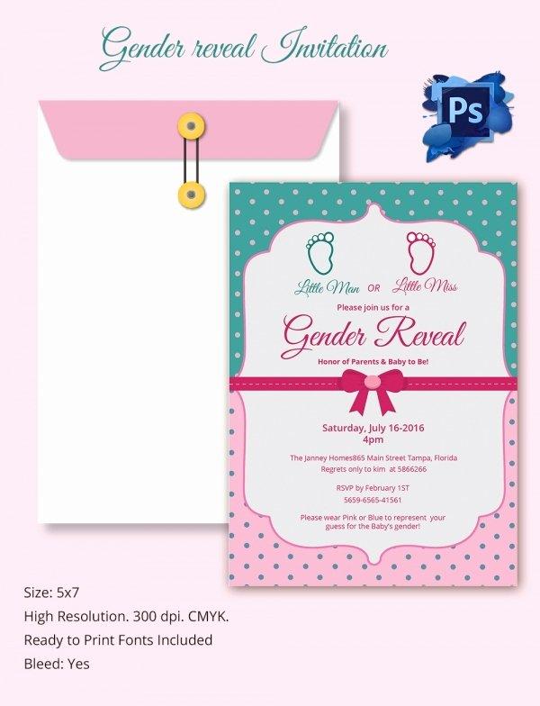 Gender Reveal Invitation Template Lovely Gender Reveal Invitation Templates