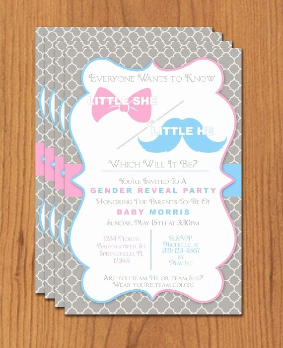 Gender Reveal Invitations Template Beautiful Bow and Mustache Gender Reveal Editable Template