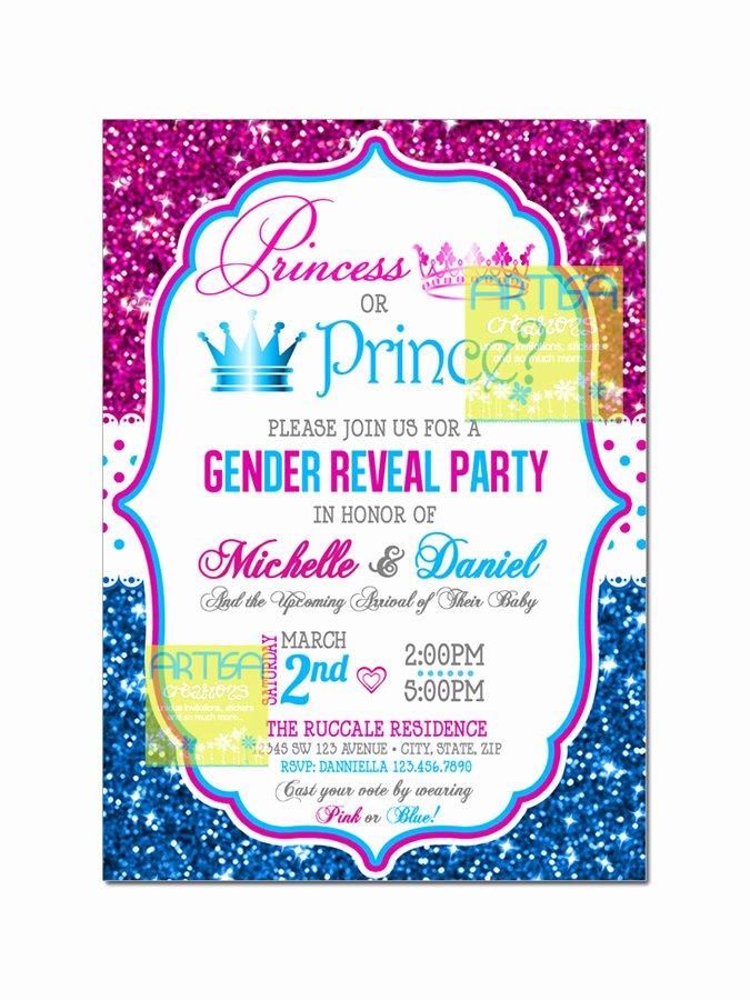 Gender Reveal Invitations Template Best Of Gender Reveal Invitation Prince or Princess Gender Reveal