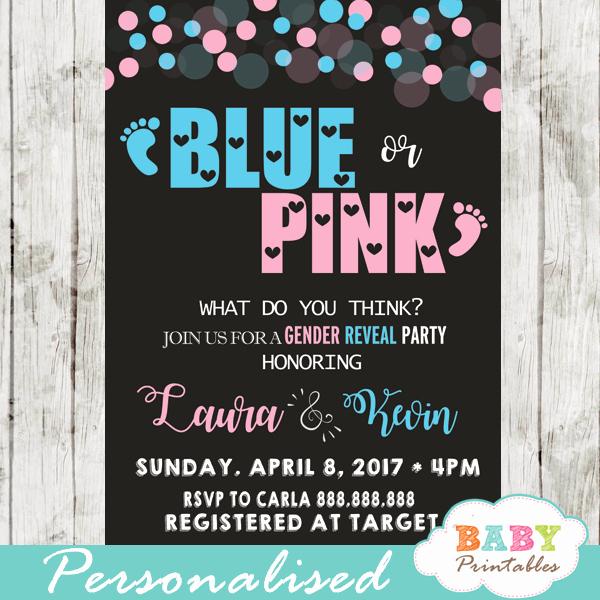 Gender Reveal Invitations Template Elegant Pink or Blue Baby Footprints Gender Reveal Invitations