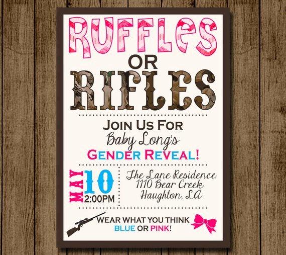 Gender Reveal Invitations Template Lovely Gender Reveal Invitation Invite Ruffles or Rifles Camo Boy