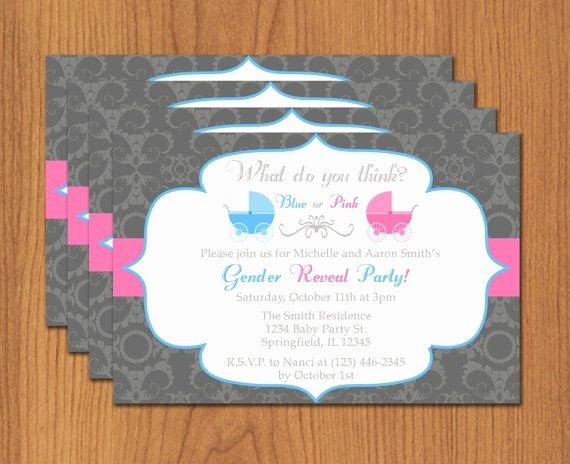 Gender Reveal Invitations Template Luxury Printable Gender Reveal Invitation Editable Template