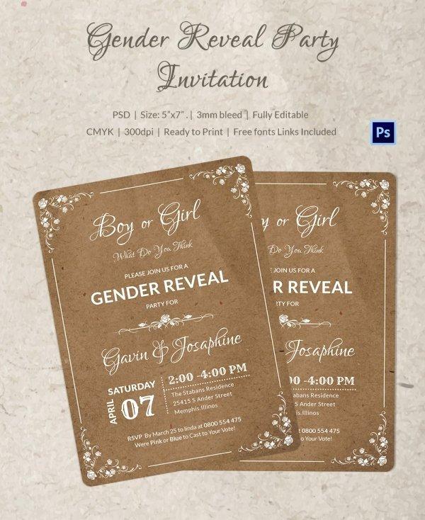 Gender Reveal Invitations Template Unique Gender Reveal Invitation Templates
