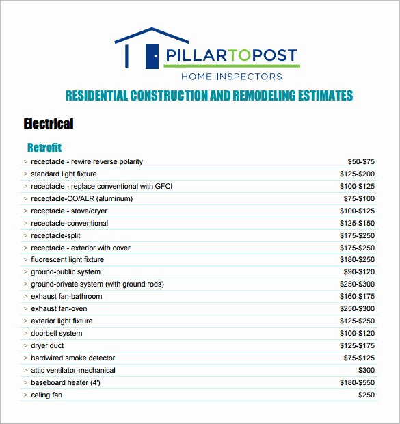 General Contractor Checklist Template New 6 Contractor Estimate Templates Pdf Doc