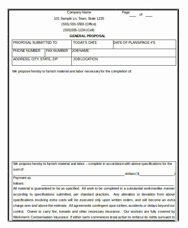 General Contractor Proposal Template Beautiful Contractor Proposal Contractor Proposal Templategeneral