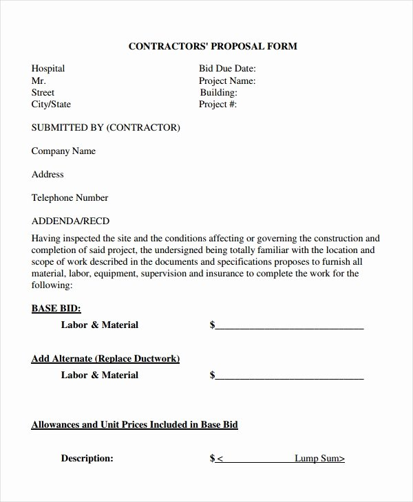 General Contractor Proposal Template Luxury Contractor Proposal Template 13 Free Word Document