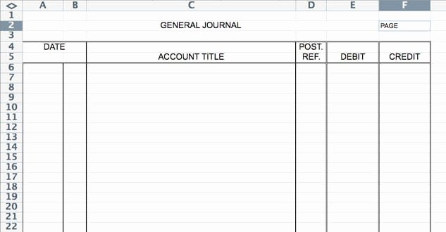 5 general journal templates