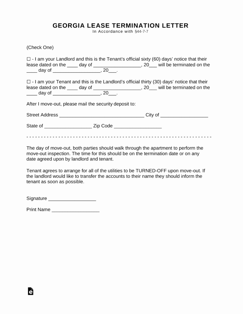 Georgia Eviction Notice Template Beautiful Free Georgia Lease Termination Letter form 30 Days Pdf